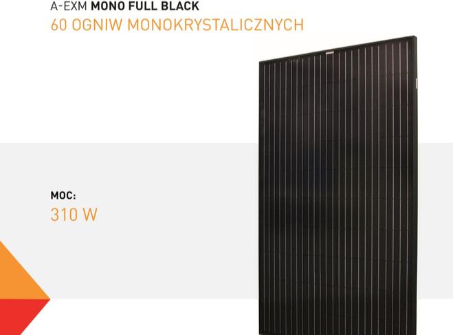 Parametry techniczne panelu monokrystalicznego EXE SOLAR A-EXM310FB