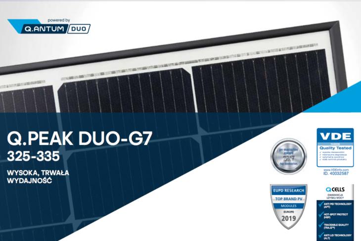 Parametry techniczne panelu monokrystalicznego Q.PEAK DUO G7 325-335
